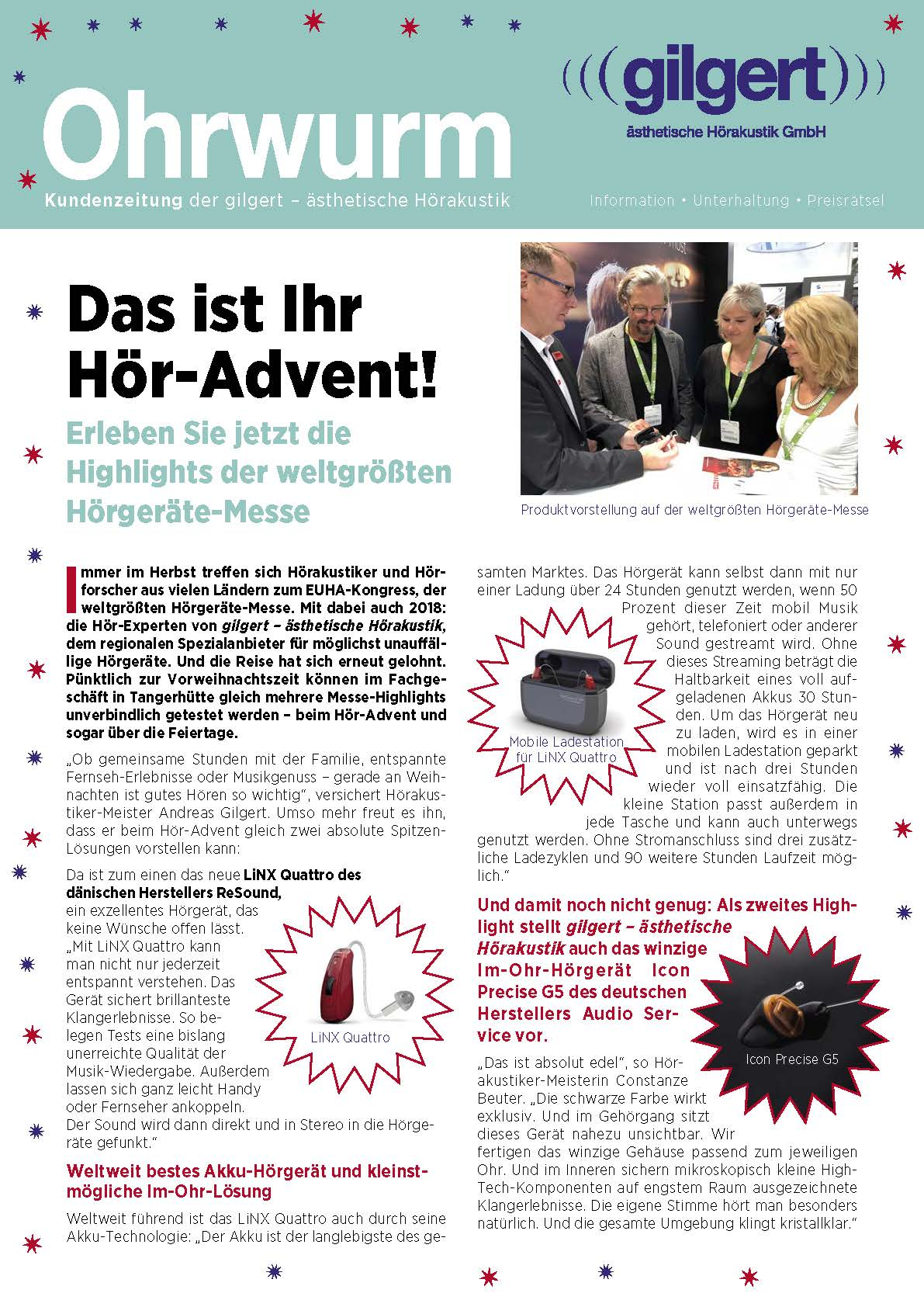 Titelseite Ohrwurm Advent 2018